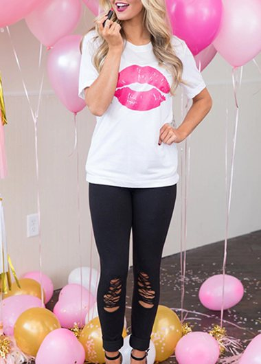 Valentine's Day round collar lip print T-shirt