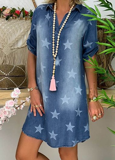 Star Print Casual Fashion Denim Dress - fashionyanclothes