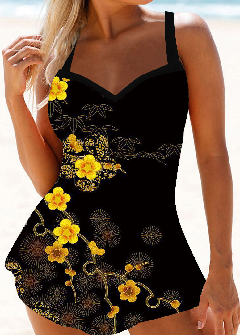 Black Printed Spaghetti Strap Swimdress - fashionyanclothes