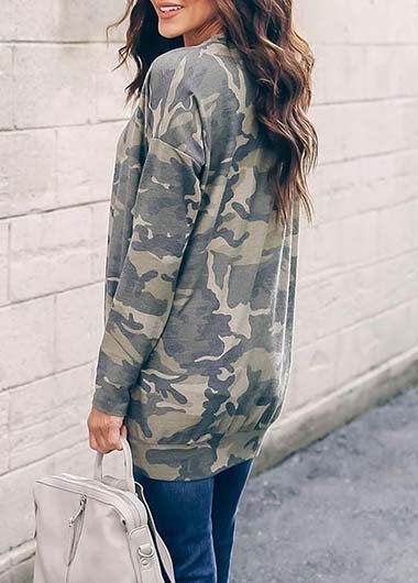 Round-collar Camouflage Printed T Shirt