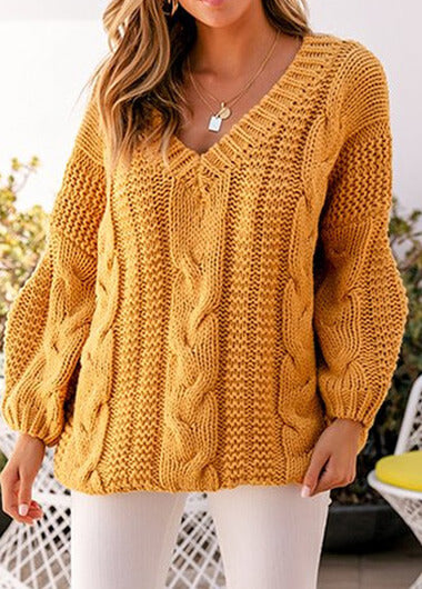 V Neck Long Sleeve Knit Sweater - fashionyanclothes