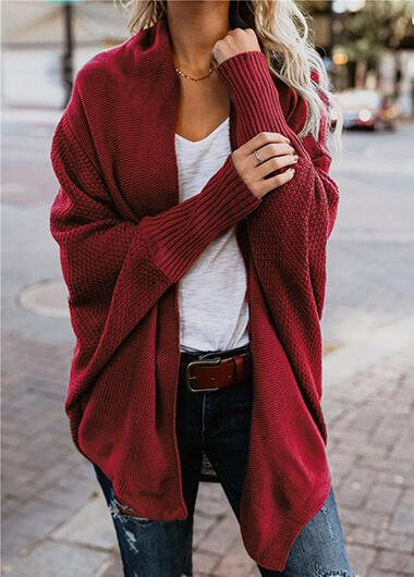 Batwing Sleeve Knitted Cardigan - fashionyanclothes