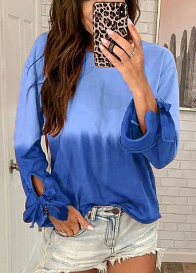Loose Round Neck Long Sleeve  Gradual  Blouse - fashionyanclothes