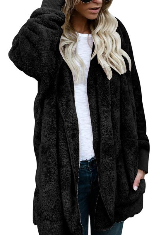 Fleece Faux Fur Thick Hooded Open Stitch Coat - fashionyanclothes
