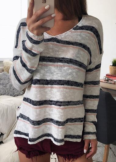 Casual Stripes Knitted V Collar Blouse - fashionyanclothes