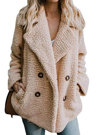 Plush Button Lapel Pocket  Coat
