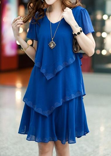 Chiffon V Neck Ball Gown Dress - fashionyanclothes