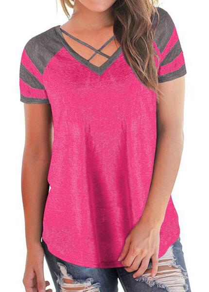 Striped V Neck Patchwork Top