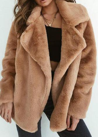 Solid Color Fluffy Collar Warm Coat - fashionyanclothes