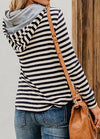 Long Sleeve Striped Button Hoodie - fashionyanclothes