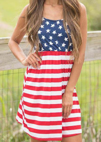 Hot Sale Flag Printing Summer Dress - esshe