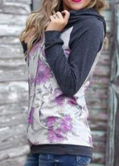 Womens  Floral Print Hoodie - fashionyanclothes