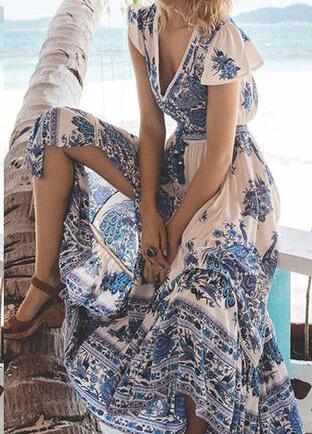 Boho Floral Print Summer Beach Dress - esshe