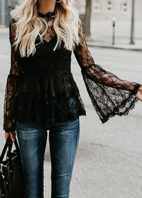 Sexy Hollow Out Black Lace Tops - esshe
