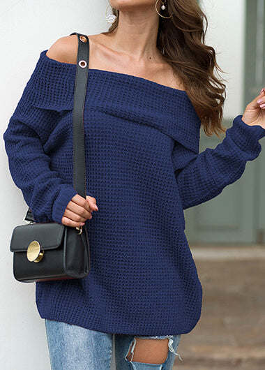 Solid  Boat Neck Long Sleeve Knitted Sweater