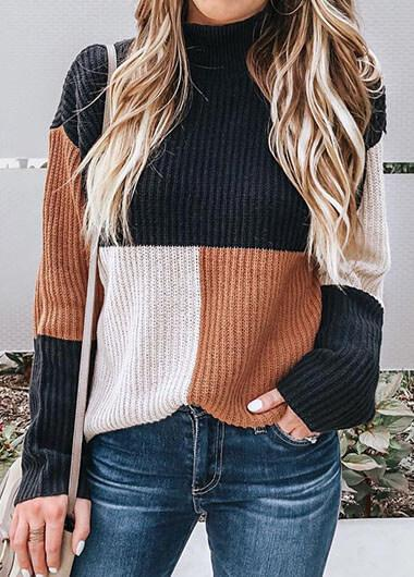 Casual Color Block Sweater - fashionyanclothes