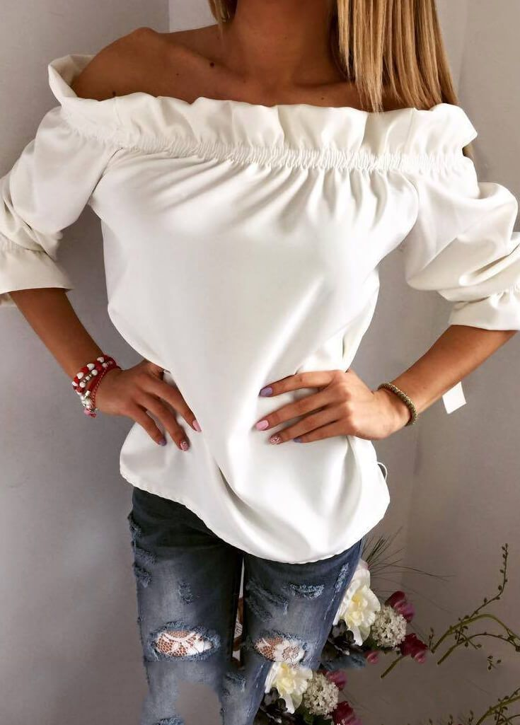 Ruffles Puff Sleeve Slash Neck Off Shoulder Blouse - esshe