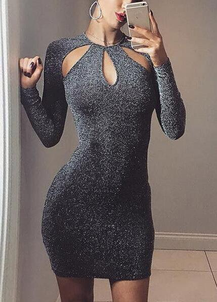 Sexy Black Sparkly Hollow Out Dress