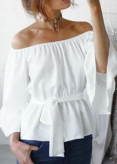 Stretch Flare Sleeve Off Shoulder Tops - fashionyanclothes