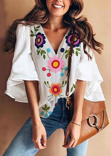 V Collar Floral Print Bell Sleeve T-Shirt