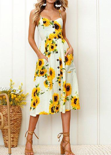 Sunflower Pinted Button Detail Dress - fashionyanclothes