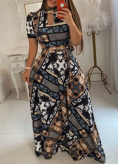 High Waist Printed Plus Size Maxi Dress