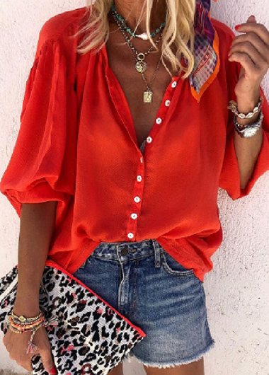 Puff Sleeve Single-Breasted Blouse - fashionyanclothes