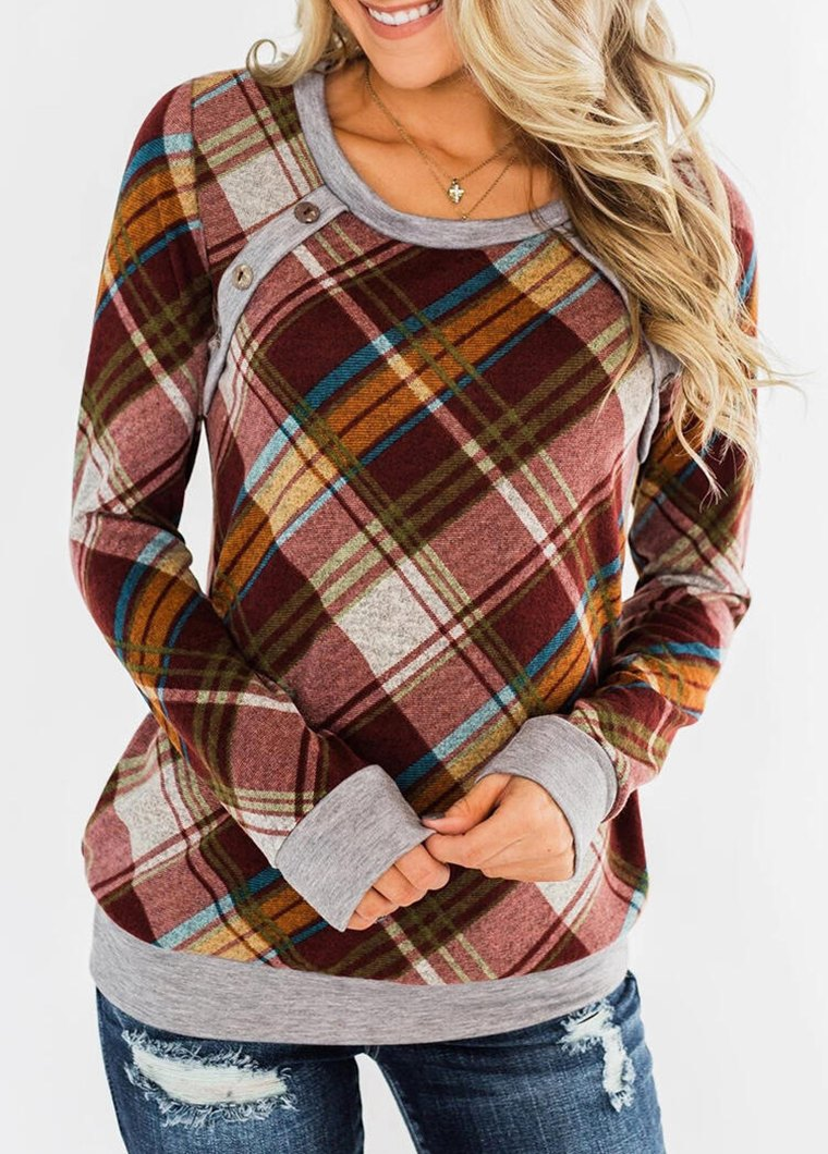 Round Neck Plaid Printed Button T Shirt
