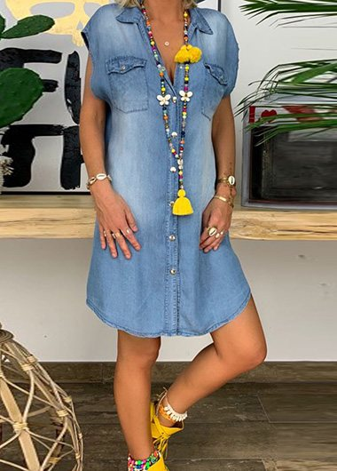 V Neck Loose Plus Size Denim Dress - fashionyanclothes