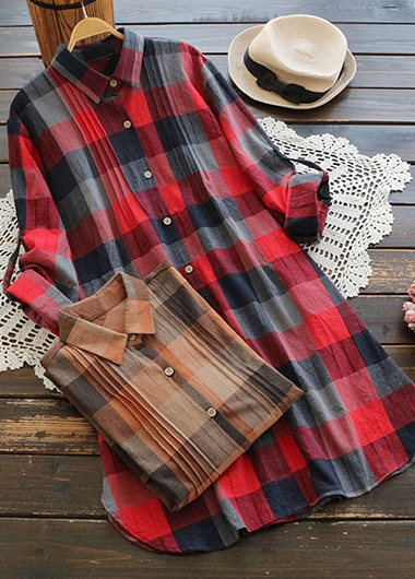 Plus size Plaid Print Button Up Blouse