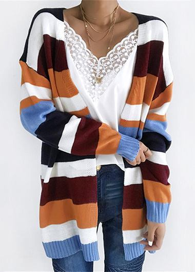 Esshe Colorful Striped Cardigan - fashionyanclothes