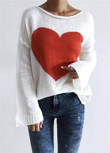 Fashionyan Heart Front Loose Sweater - fashionyanclothes