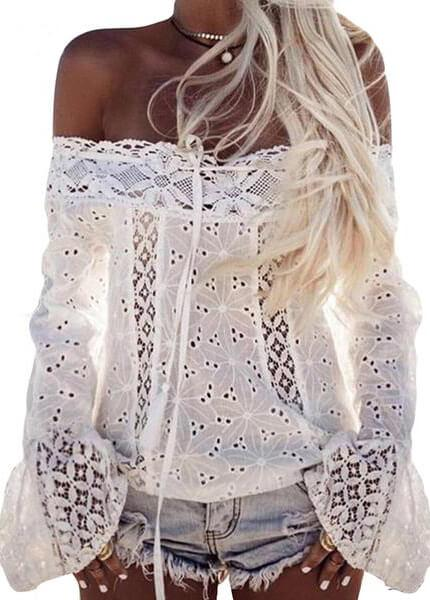 Lace White Off Shoulder Flare Sleeve Top - fashionyanclothes