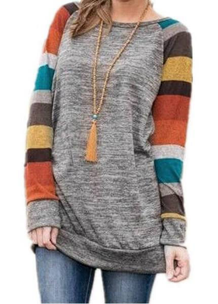 Long Sleeve Striped Patchwrork  LooseT-Shirt - fashionyanclothes