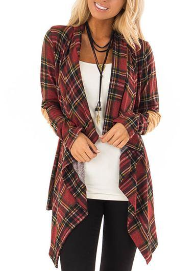 Plaid Print Asymmetric Hem Cardigan