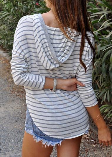 Striped Hooded collar hoodie - fashionyanclothes