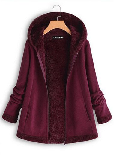 Plus Size Hoodie Long Sleeve Mohair Zipper Coats