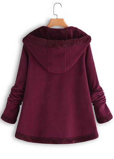 Plus Size Hoodie Long Sleeve Mohair Zipper Coats - fashionyanclothes