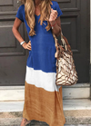 Loose Color Spliced Short Sleeved Dress - fashionyanclothes