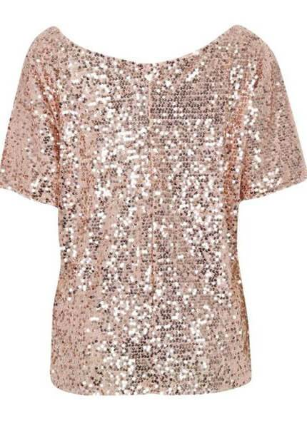 Sequins Decorated Solid Silver T Shirt - esshe