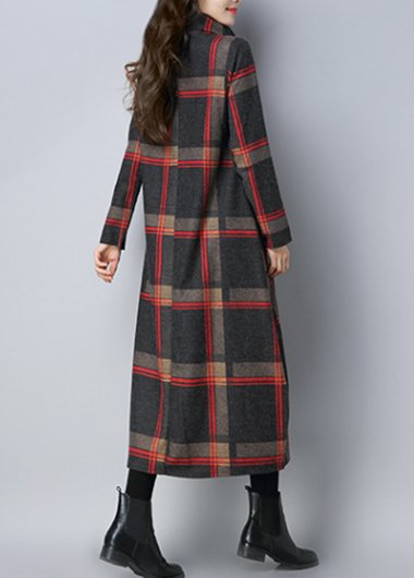 Turtleneck Vintage Plaid Printed Nyln Dress