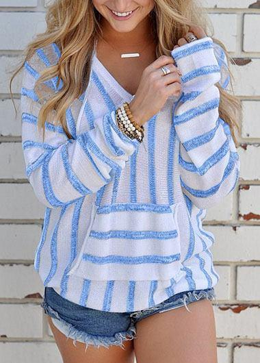 Striped Hooded Collar Fluffy Sweater - fashionyanclothes