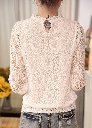 Long Sleeve Lace White Blouse - fashionyanclothes