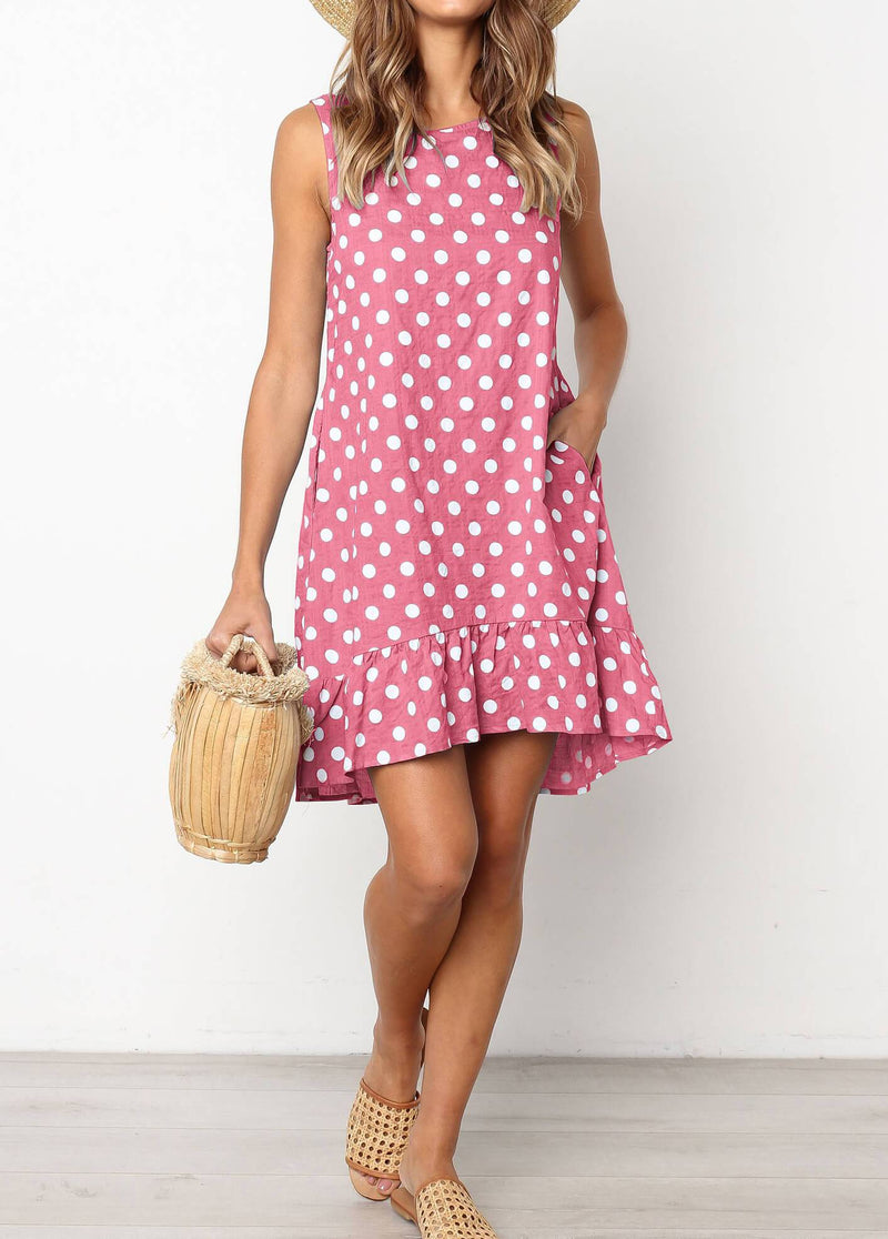2019 Summer Sleeveless Dot Dress - fashionyanclothes