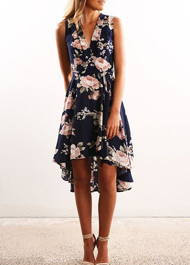 Asymmetric Hem Printed Dress - fashionyanclothes