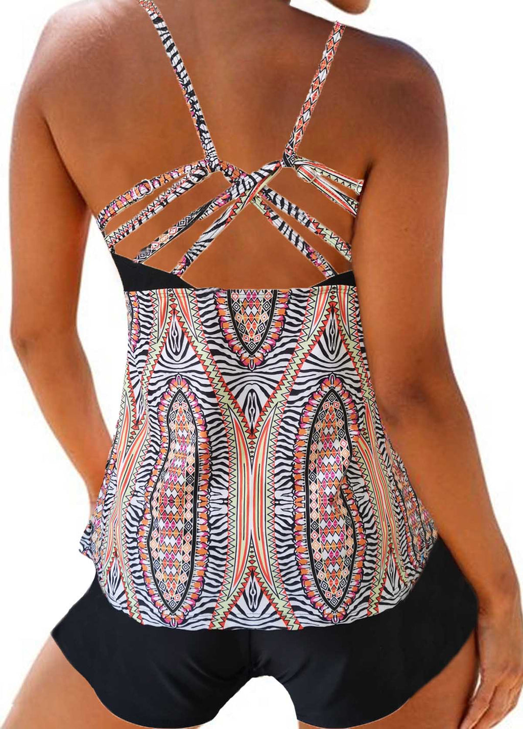 Strappy Back Printed Tankini Top and Shorts - fashionyanclothes