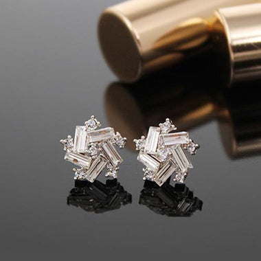 Irregular Shape Artificial Crystal Decorated Ear Studs - fashionyanclothes
