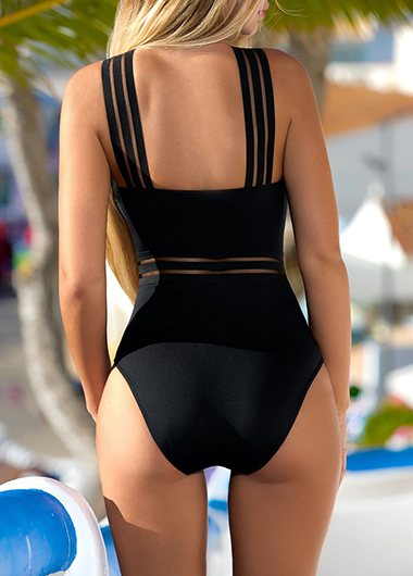 Mesh Panel Spaghetti Strap Black Swimwear