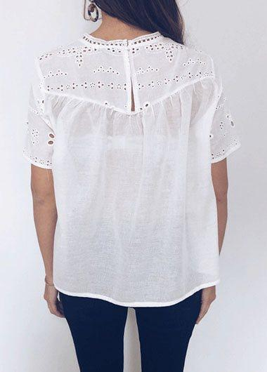 Hot Sale Pierced White T Shirt