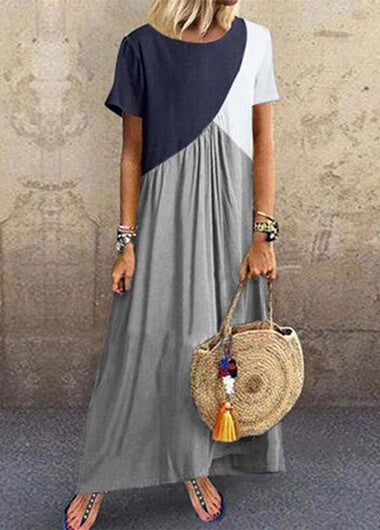 Round Neck Geometric Color Block MaxiDress